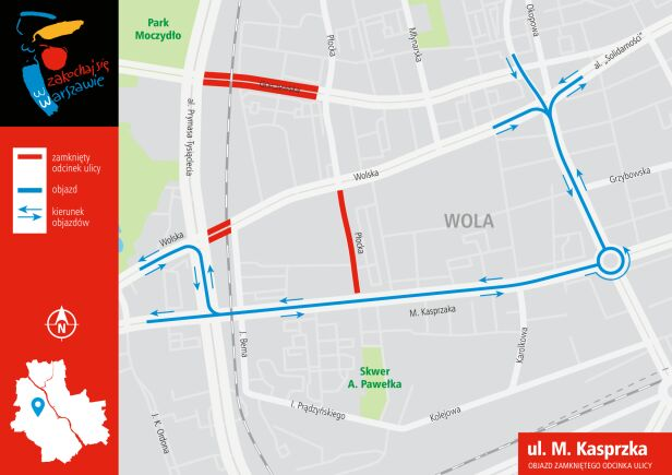 Drogowcy wyznaczyli objazd ulicą Kasprzaka  UM