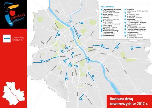 Nowe ścieżki rowerowe UM Warszawa