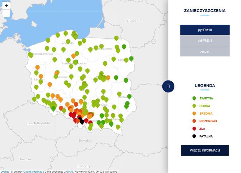 Stężenie pyłu PM10 o godzinie 21 (tvnmeteo.pl za GIOŚ)