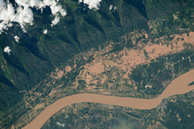 Rzeka Mekong na granicy Tajlandii i Laos