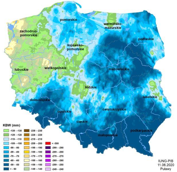 Susza rolnicza w Polsce - stan na 11 czerwca 2020 roku (IUNG)
