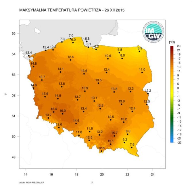 Maksymalna temperatura powietrza 26 grudnia 2015 roku (IMGW)