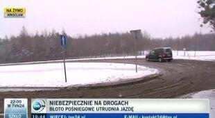 We Wrocławiu gruba warstwa błota pośniegowego (TVN24)
