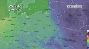 Prognozowana temperatura w kolejnych dniach (Ventusky)