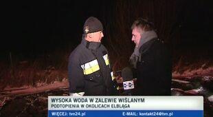 Akcja przeciwpowodziowa pod Elblągiem (TVN24)